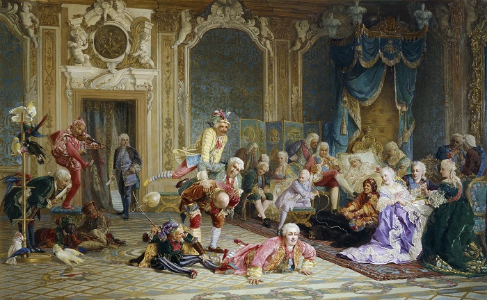 Шуты при дворе императрицы Анны Иоанновны.  В. Якоби, 1872 год. Фото: runivers.com.